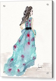 Cerulean Blue Fashion Sketch Dress Acrylic Print by Janelle Nichol