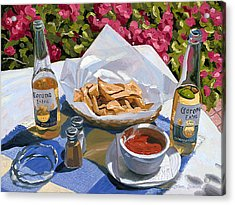 Cervezas Y Nachos - Coronas With Nachos Acrylic Print by Steve Simon