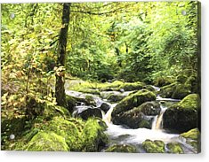 Cezanne Style Digital Painting Landscape Of Becky Falls Waterfall In Dartmoor National Park Eng Acrylic Print by Matthew Gibson
