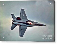 Cf18 Hornet Topview Flying Acrylic Print by Cathy  Beharriell