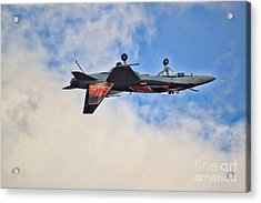 Cf18 Hornet Upside Down Fly By  Acrylic Print by Cathy  Beharriell