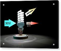 Cfl Light Bulb Efficiency Acrylic Print by Animate4.com/science Photo Libary