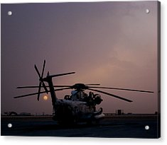 Ch-53 At Sunset In Afghanistan Acrylic Print by Jetson Nguyen