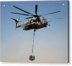 Ch-53 Carrying Cargo Load In Afghanistan Acrylic Print by Jetson Nguyen