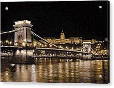 Chain Bridge And Buda Castle Winter Night Painterly Acrylic Print