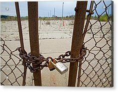 Chained And Padlocked Gate Acrylic Print by Jim West