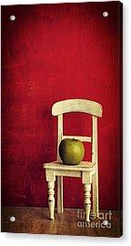 Chair Apple Red Still Life Acrylic Print by Edward Fielding