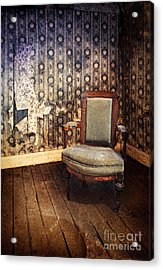 Chair In Abandoned Room Acrylic Print by Jill Battaglia