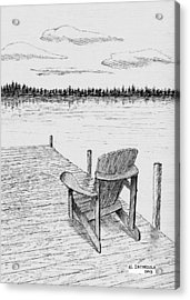 Chair On The Dock Acrylic Print