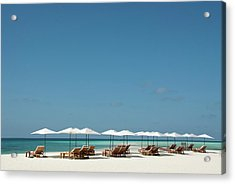 Chairs And Umbrellas On The Beach Acrylic Print