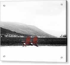 Chairs At Canandaigua Lake 2011 Acrylic Print by Joseph Duba