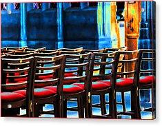 Chairs In Church Acrylic Print