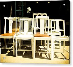 Chairs In White Acrylic Print by Sonja Quintero