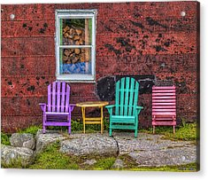 Chairs Of West Dover Acrylic Print by Ken Morris
