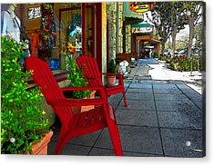 Chairs On A Sidewalk Acrylic Print