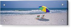 Chairs On The Beach, Gulf Of Mexico Acrylic Print by Panoramic Images
