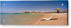 Chaise Longue On The Beach, Soma Bay Acrylic Print by Panoramic Images