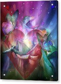 Chakra Heart Acrylic Print by Carol Cavalaris