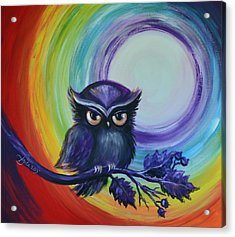 Acrylic Print featuring the painting Chakra Meditation With Owl by Agata Lindquist