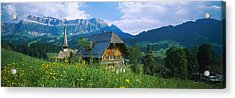 Chalet And A Church On A Landscape Acrylic Print by Panoramic Images
