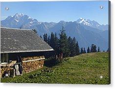 Chalet In The Swiss Alps Bettmeralp Switzerland Acrylic Print by Matthias Hauser