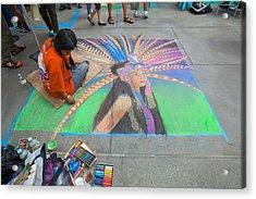 Pasadena Chalk Art - Street Photography Acrylic Print