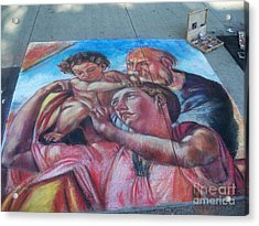 Chalk Painting By Street Artist Acrylic Print