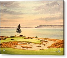 Chambers Bay Golf Course Hole 15 Acrylic Print by Bill Holkham