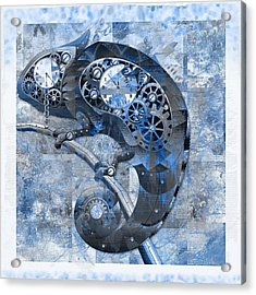 Chameleon - Blue 01b02 Acrylic Print by Variance Collections