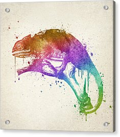 Chameleon Splash Acrylic Print by Aged Pixel