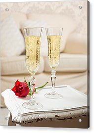 Champagne And Rose Acrylic Print by Amanda Elwell