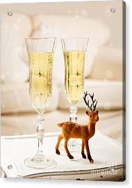 Champagne At Christmas Acrylic Print by Amanda Elwell