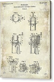Champagne  Cork Extractor And Wire Cutter Patent Drawing Acrylic Print by Jon Neidert