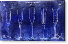 Champagne Flutes Design Patent Drawing Blue Acrylic Print by Jon Neidert