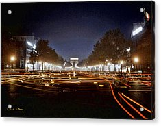 Champs Elysees At Night Acrylic Print by Chuck Staley