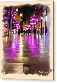 Champs Elysees In Pink Acrylic Print by Angela A Stanton