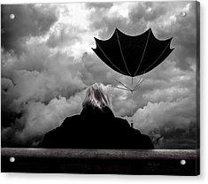 Chance Of Rain   Broken Umbrella Acrylic Print by Bob Orsillo