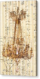 Chandelier With Franz Liszt Music Score Acrylic Print by Suzanne Powers