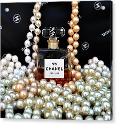 Chanel No 5 With Pearls Acrylic Print