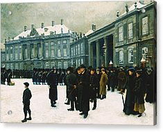 Changing Of The Guard At Amalienborg Palace Acrylic Print by Paul Fischer