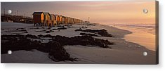 Changing Room Huts On The Beach Acrylic Print by Panoramic Images
