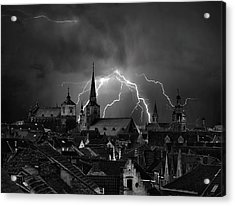 Chaos In The Sky Of Bruges Acrylic Print