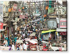 Chaotic Streets Of New Delhi In India Acrylic Print