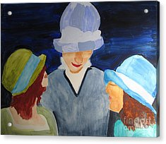 Acrylic Print featuring the painting Chapeaux Trois by Sandy McIntire