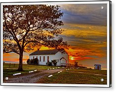 Chapel At Fort Hancock Sandy Hook Nj In Sunset Acrylic Print by Geraldine Scull