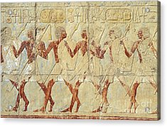 Acrylic Print featuring the relief Chapel Of Hathor Hatshepsut Nubian Procession Soldiers - Digital Image -fine Art Print-ancient Egypt by Urft Valley Art