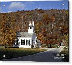 Chapel On The Green, Vermont Acrylic Print by Rafael Macia