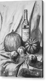 Acrylic Print featuring the drawing Charcoal Still Life Harvest by Dee Dee  Whittle