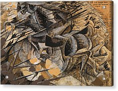 Charge Lancers Acrylic Print by Umberto Boccioni