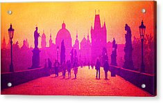 Charles Bridge Prague Acrylic Print by MB Dallocchio